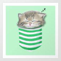 Cat in the Pocket Art Print