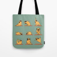 Tote Bag featuring Pug Yoga by Huebucket