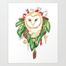 Winter Woodland Magic Owl Art Print