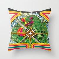 Classic Centipede Woodcu… Throw Pillow