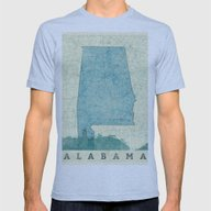 Alabama Map Blue Vintage Mens Fitted Tee Athletic Blue SMALL