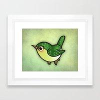 Cute Green Bird Framed Art Print