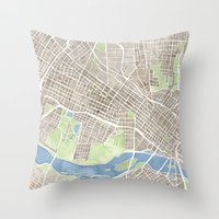 Richmond Virginia City Map Throw Pillow