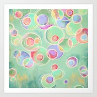 Iridescent Bubbles - Pastel Abstract Painting  Art Print