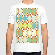 Retro SMALL White Mens Fitted Tee
