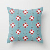 Sailing Pattern Throw Pillow