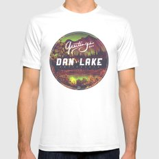 Greetings from Dan Lake CA White SMALL Mens Fitted Tee