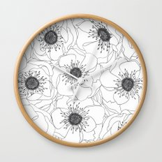 White Anemones Wall Clock