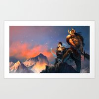 League of Legends-Tryndamere and Ashe Art Print