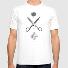 ROCK / SCISSORS / PAPER Mens Fitted Tee White SMALL