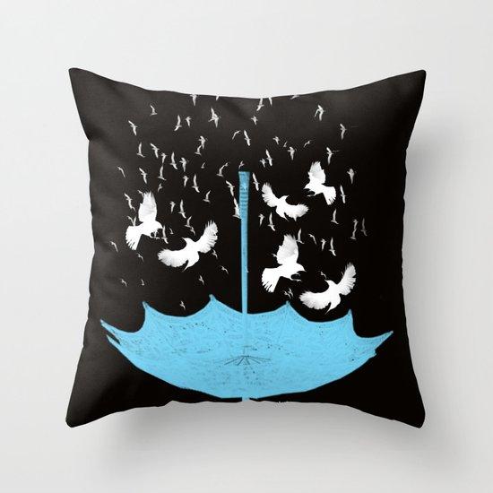 Umbrella Birds Throw Pillow