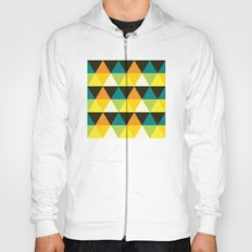 Teal, mustard, black & yellow triangles Hoody
