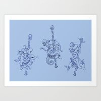 Sea Carousel Blue Monotone Art Print