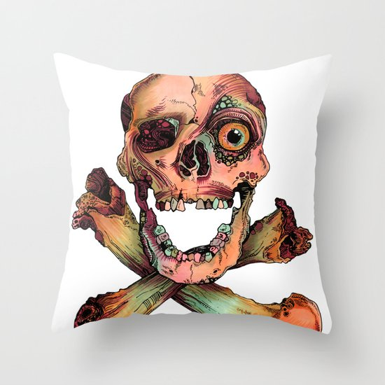 Skull in Color Throw Pillow