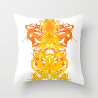 Gold Rorschach Ink Blot  Throw Pillow