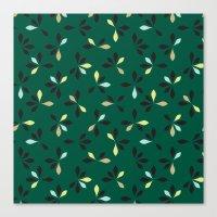 loves me loves me not pattern - hunter green Canvas Print