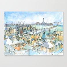 Il Porto (view of Genoa) Canvas Print