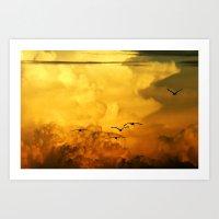 Flight At The Golden Hou… Art Print