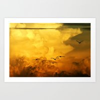 Flight At The Golden Hou… Art Print