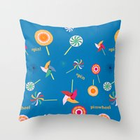 Spin! Pinwheel Spin! Throw Pillow