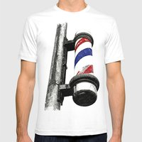Haircuts Here Mens Fitted Tee White SMALL