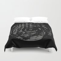 Record White On Black Duvet Cover