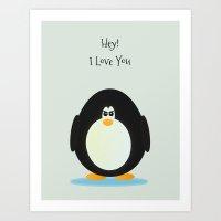 penguin love Art Print