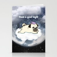 Sleepy Little Pug Stationery Cards