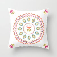 Suzani inspired floral 3 Throw Pillow