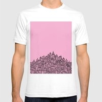 CitySkyline (Pink) Mens Fitted Tee White SMALL