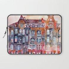 Apartment House in Poznan and orange umbrellas Laptop Sleeve