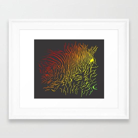 Tiger and zebra Framed Art Print