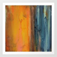 Blue and Orange - Textured Abstract Art Print