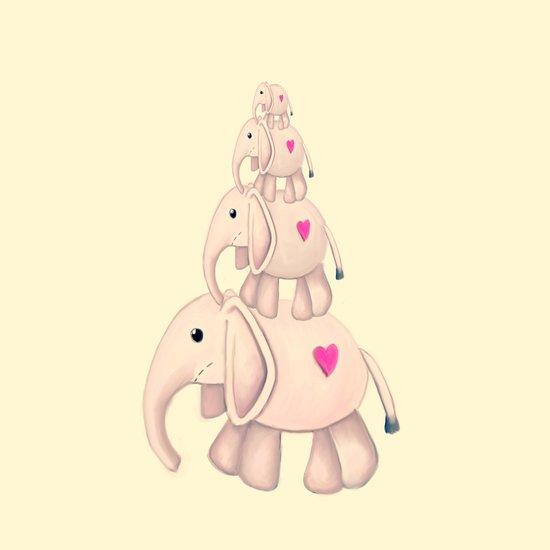 I Heart Elephants Art Print
