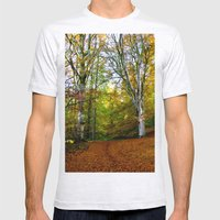 Autumn Trees Woodland Mens Fitted Tee Ash Grey SMALL