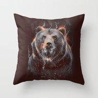 DARK BEAR Throw Pillow