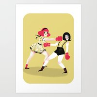 girls Art Prints featuring GIRLS! by giovanamedeiros