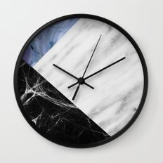 Marble Collage with Blue Wall Clock