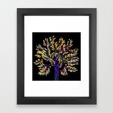 Single Tree on black Framed Art Print