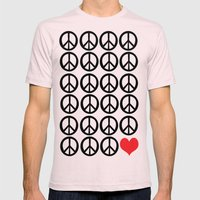 PEACE PEACE ANDLOVE Mens Fitted Tee Light Pink SMALL