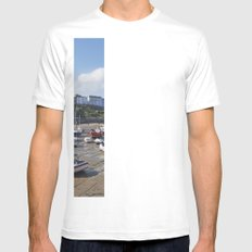 Boats in Tenby Harbour at low tide. Wales, UK. Mens Fitted Tee SMALL White