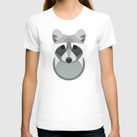 Raccoon Womens Fitted Tee White SMALL