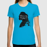Not a golfer! – The Big Lebowski Silhouette Quote Womens Fitted Tee Teal SMALL