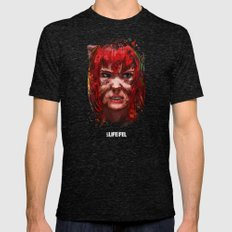 The face of a harsh life Mens Fitted Tee Tri-Black SMALL
