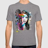Retro Girl Mens Fitted Tee Tri-Grey SMALL