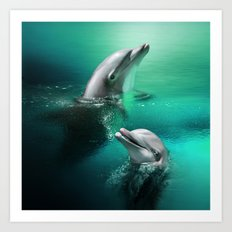 Dancing Dolphins Art Print