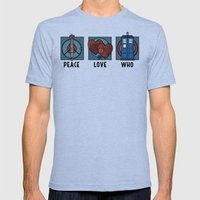 Peace, Love, Who Mens Fitted Tee Tri-Blue SMALL