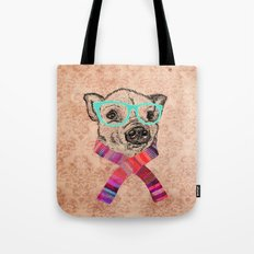 Funny Cute Pig Drawing Teal Geek Hipster Glasses Tote Bag