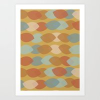 Mod Leaf Lines Art Print