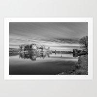 Caerphilly Castle Long Exposure 2 Monochrome Art Print